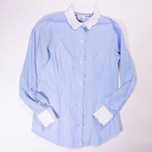 Gretchen Scott Pin Stripe Button Down Shirt Blouse
